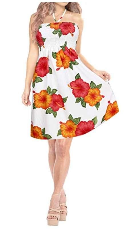 vestido hawaiano blanco mujer